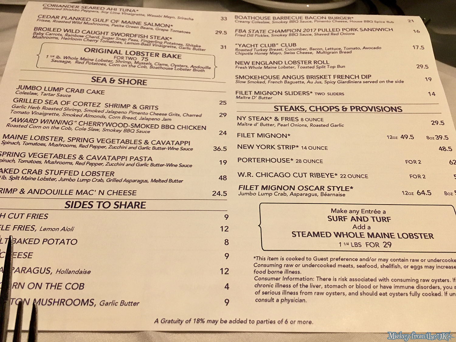 Boathouse Disney Springs Menu